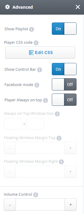 Advanced Settings for video player